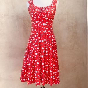 London Times Fit and Flare Polka Dot Dress EUC